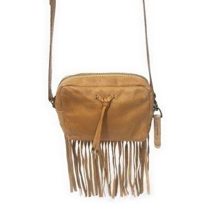LUCKY BRAND Vintage Tan Leather Fringe Crossbody
